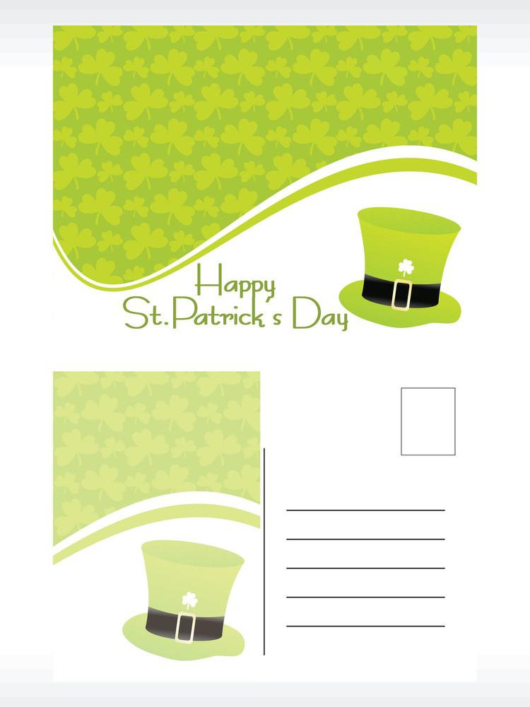Green Shamrock Background Mailing Card