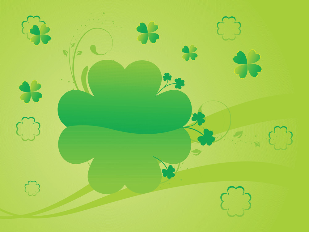 Green Shamrock Curve Background 17 March