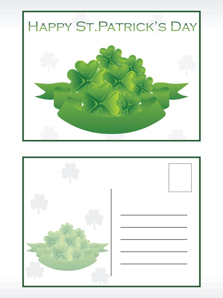 Green Shamrock Postcard Illustration