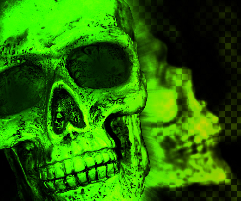 Green Skull Scary Background