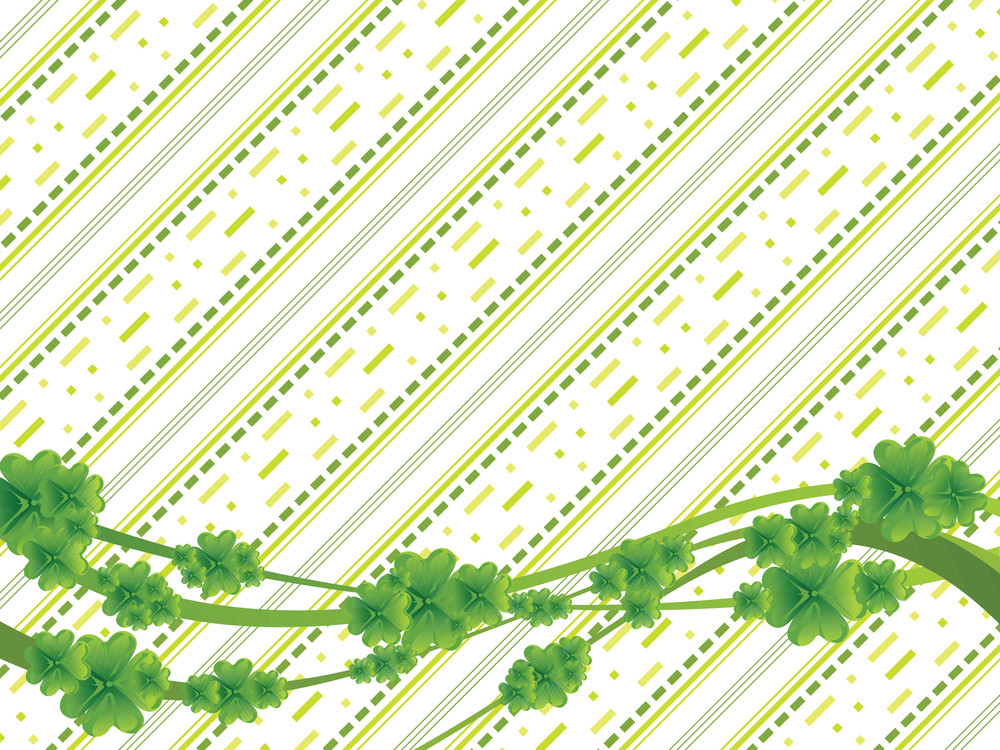 Green Slanting Lines And Clovers Wallpaper 17 March