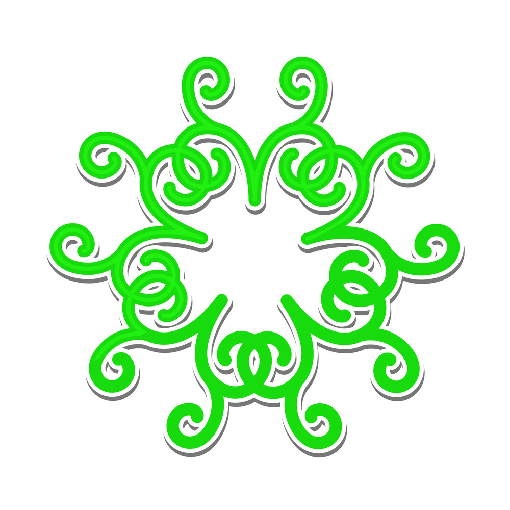 Green Snowflake Sticker