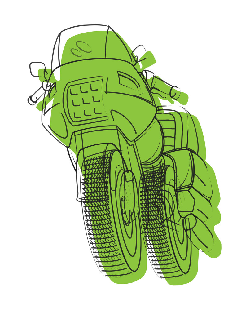 Green Sports Bike Drawing