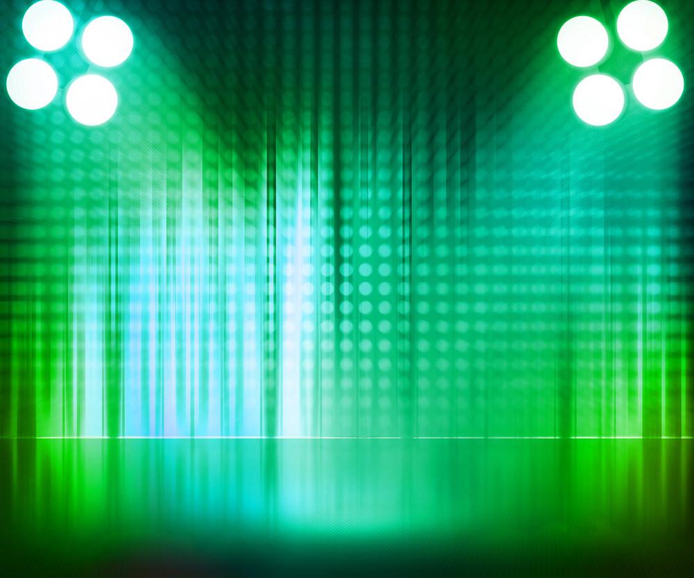 Green Spotlight Stage Background