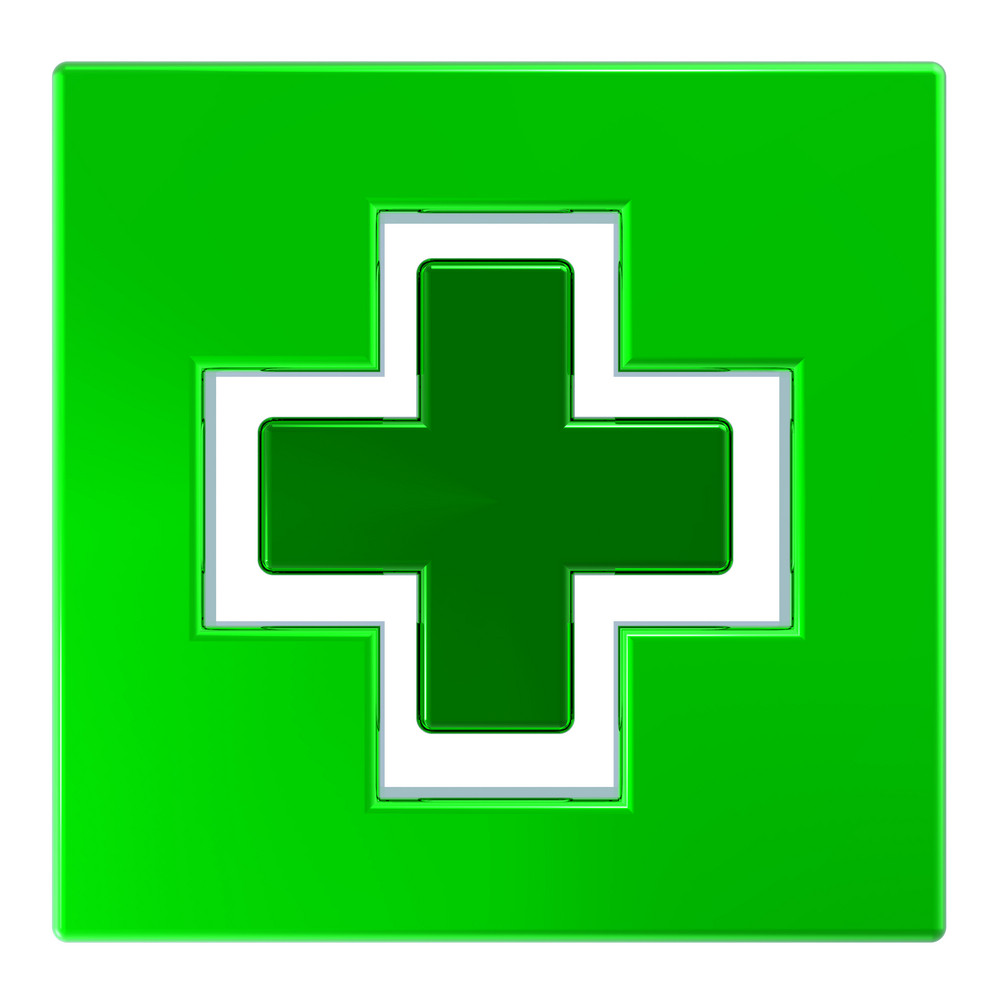Green Square With Cross Isolated On White.