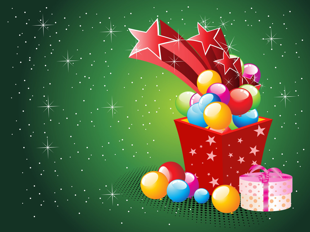 Green Twinkle Star Background With Colorful Balloons