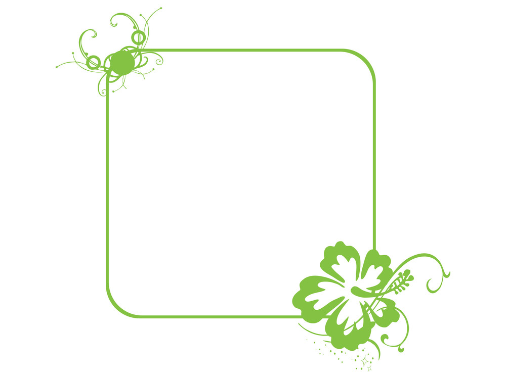 Green Vector Frame Of Flower Corner