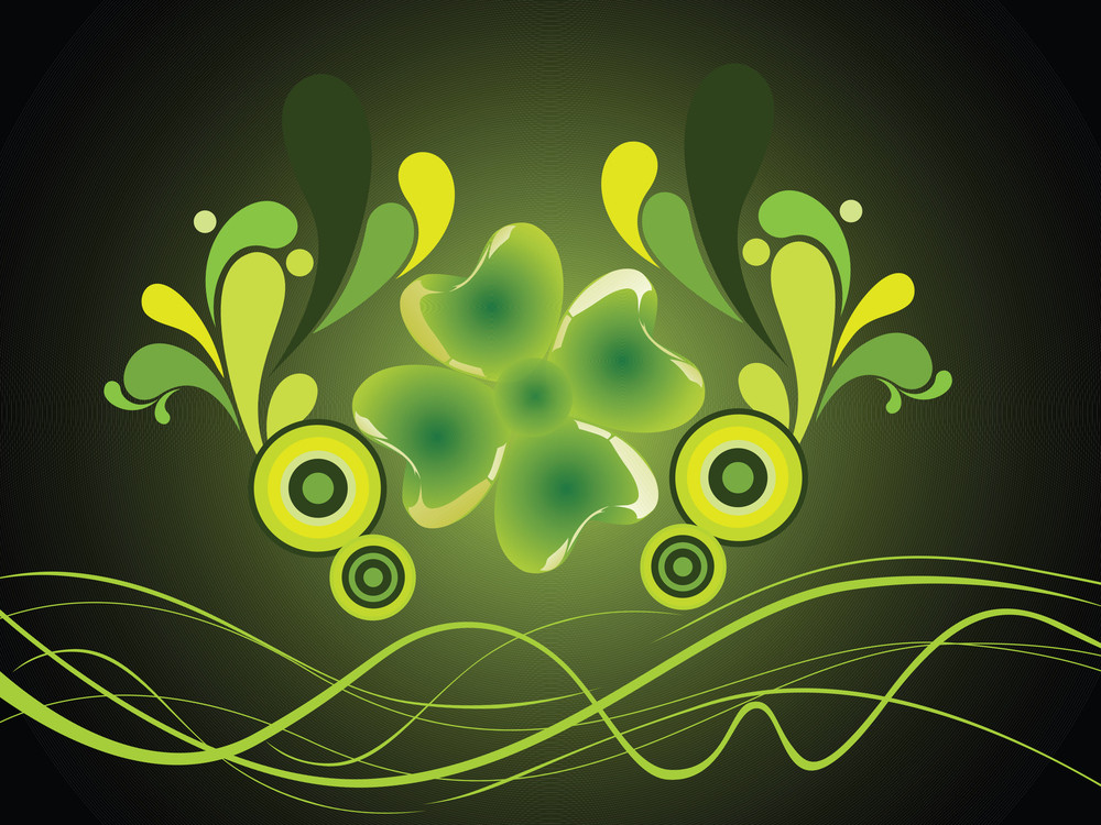 Green Vector Of Four Leafs Clover With Waves
