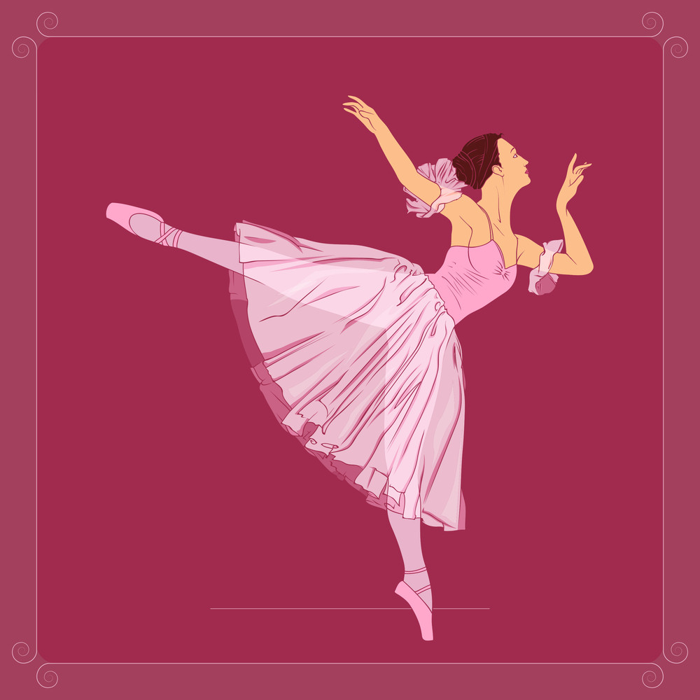 Greeting Card With Ballerina On A Dirty Background. Vector Illustration. Plase For Your Text
