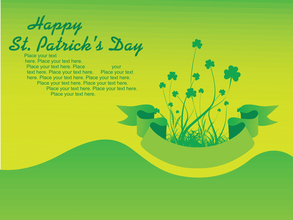 Greeting Card With Clover Design Illustration 17 March