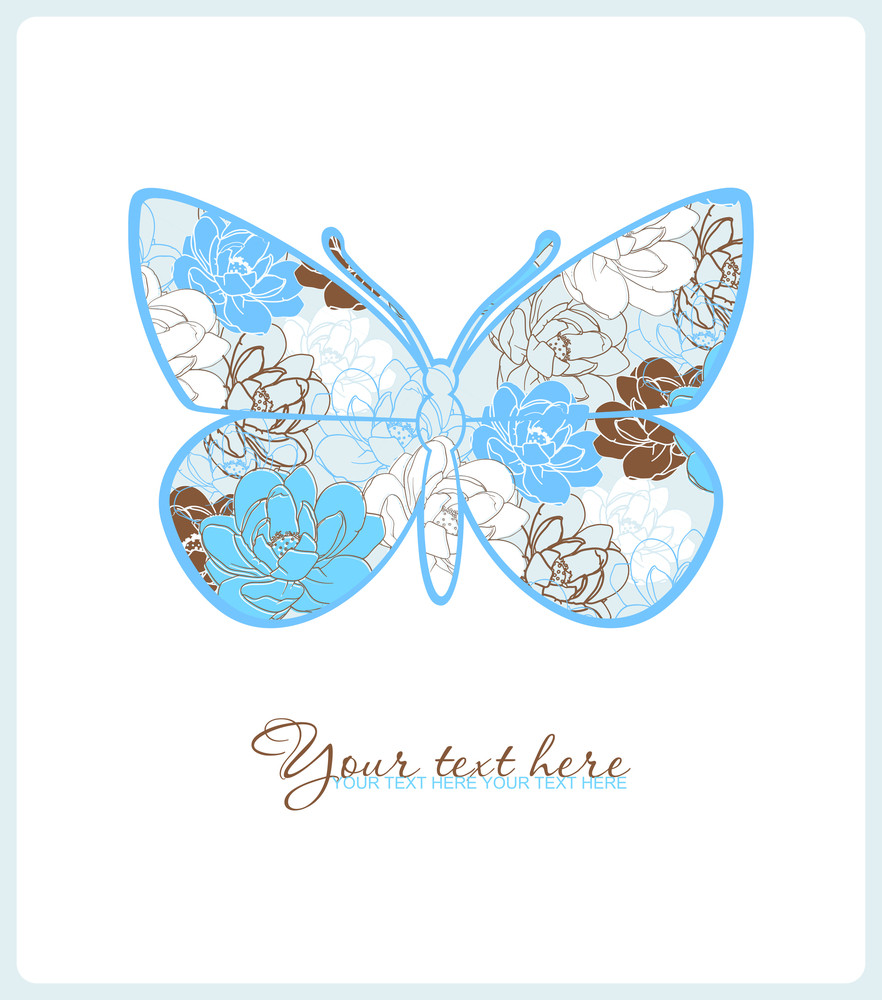 Greeting Card With Floral Butterfly.