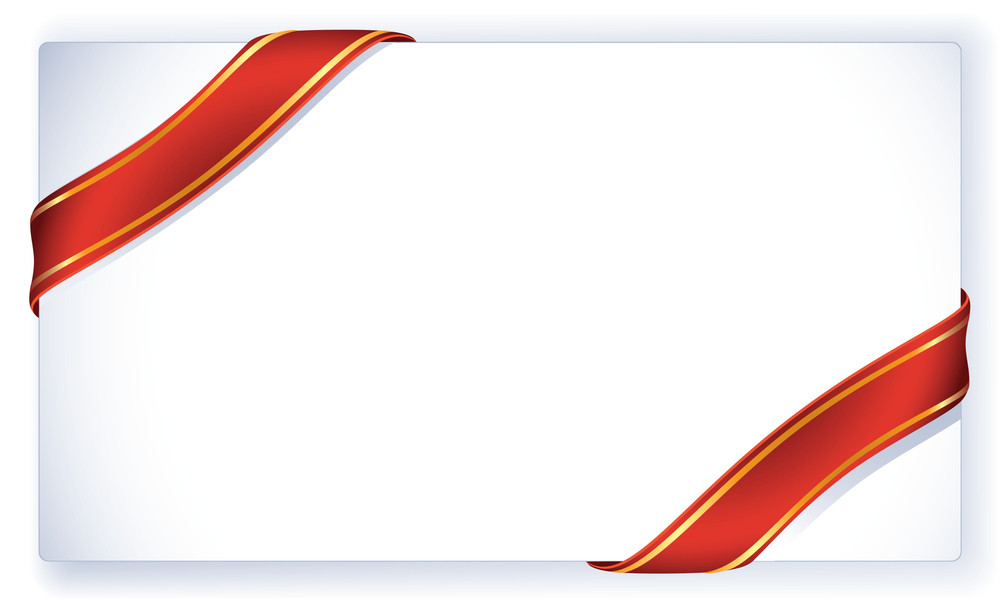Greeting Card With Red And Gold Ribbon. Vector Template.