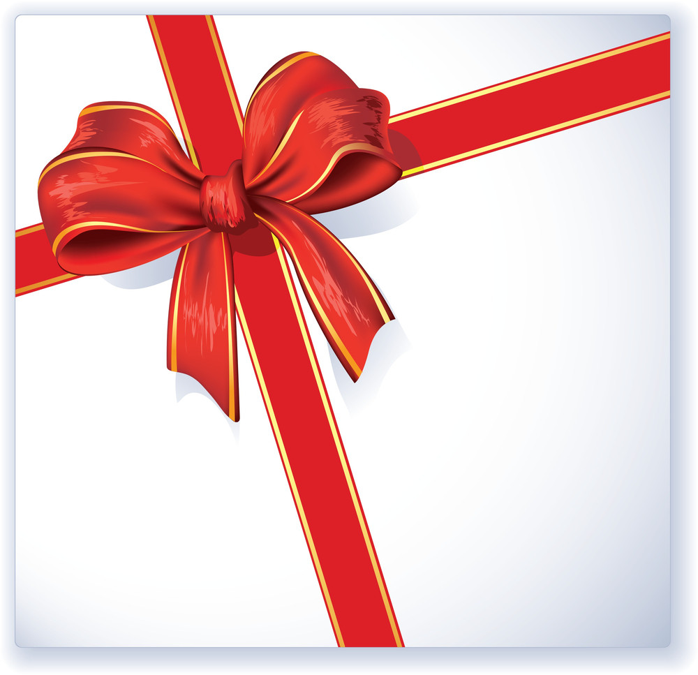 Greeting Card With Red Ribbon And Bow. Vector.