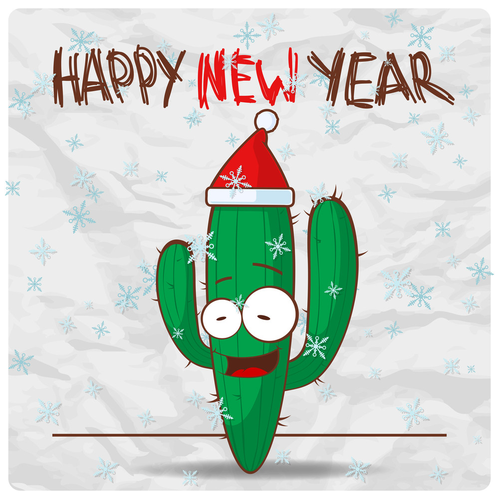 Greeting Christmas Card With Funny Cactus Character. Vector Illustration