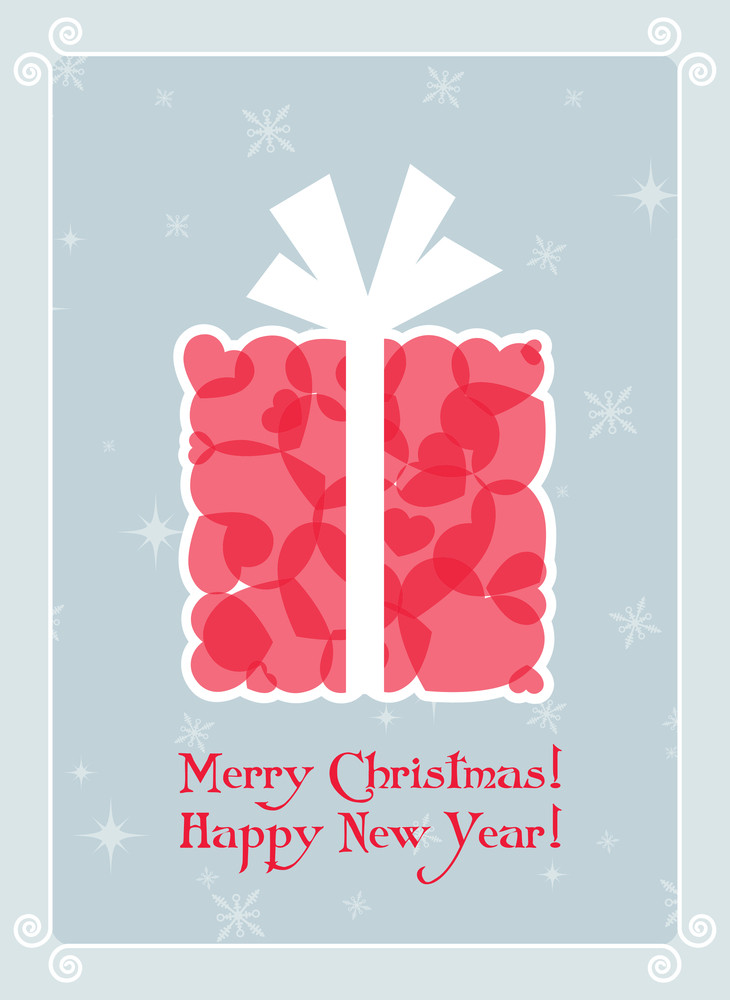 Greeting Christmas Card With Present Box From Hearts. Vector Illustration.