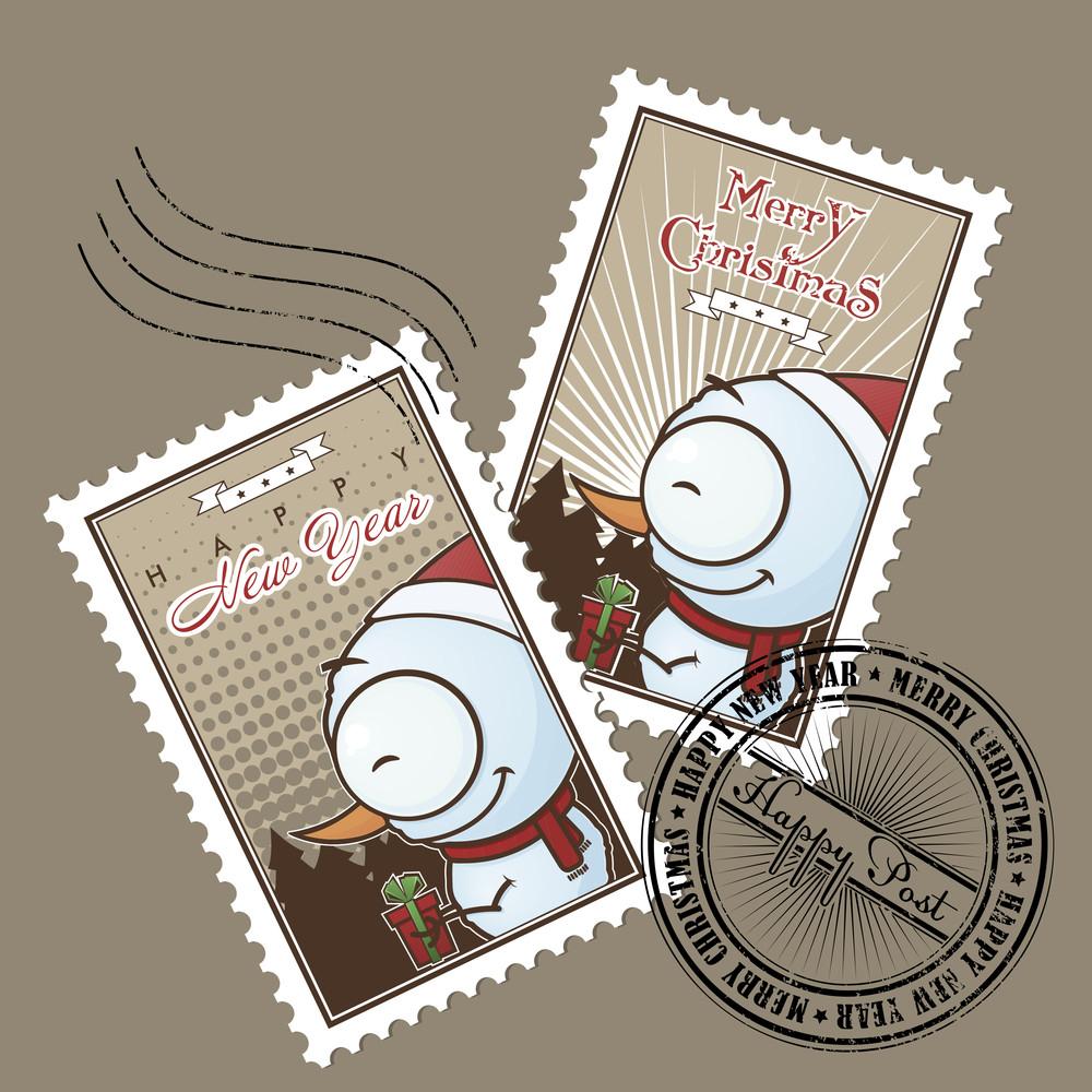 Greeting Christmas Postage Set. Vector Illustration.