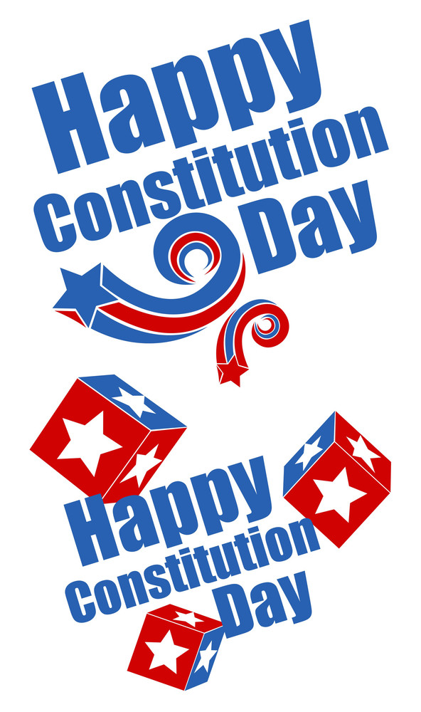 Greeting Text  Constitution Day Vector Illustration