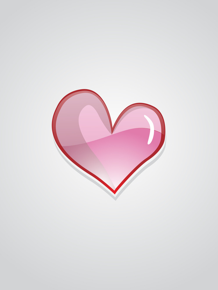 Grey Background With Isolated Heart