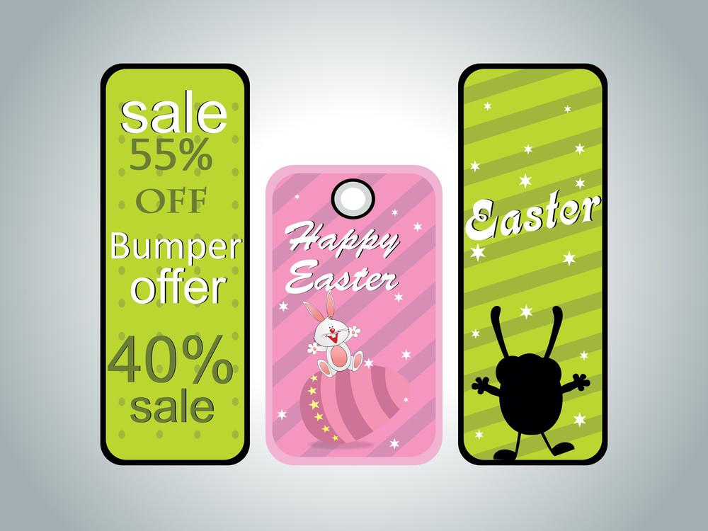 Grey Background With Set Of Three Sale Tag