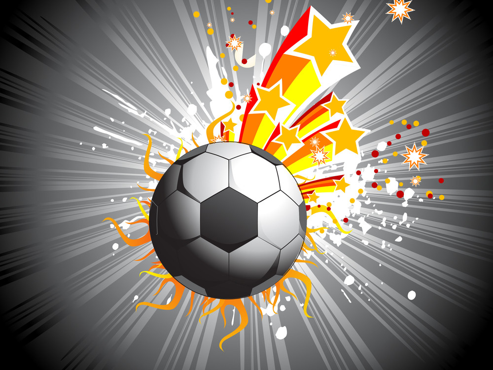 Grey Background With Soccer And Star