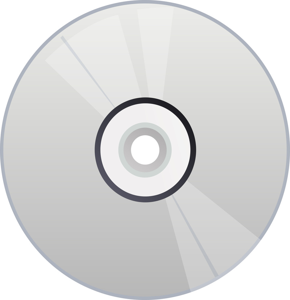 Grey Cd Icon On White Background