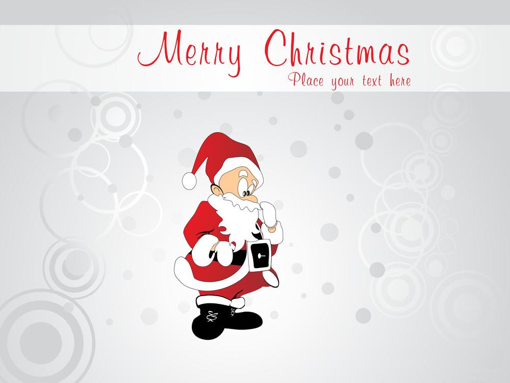 Grey Circle Pattern Background With Santa Claus