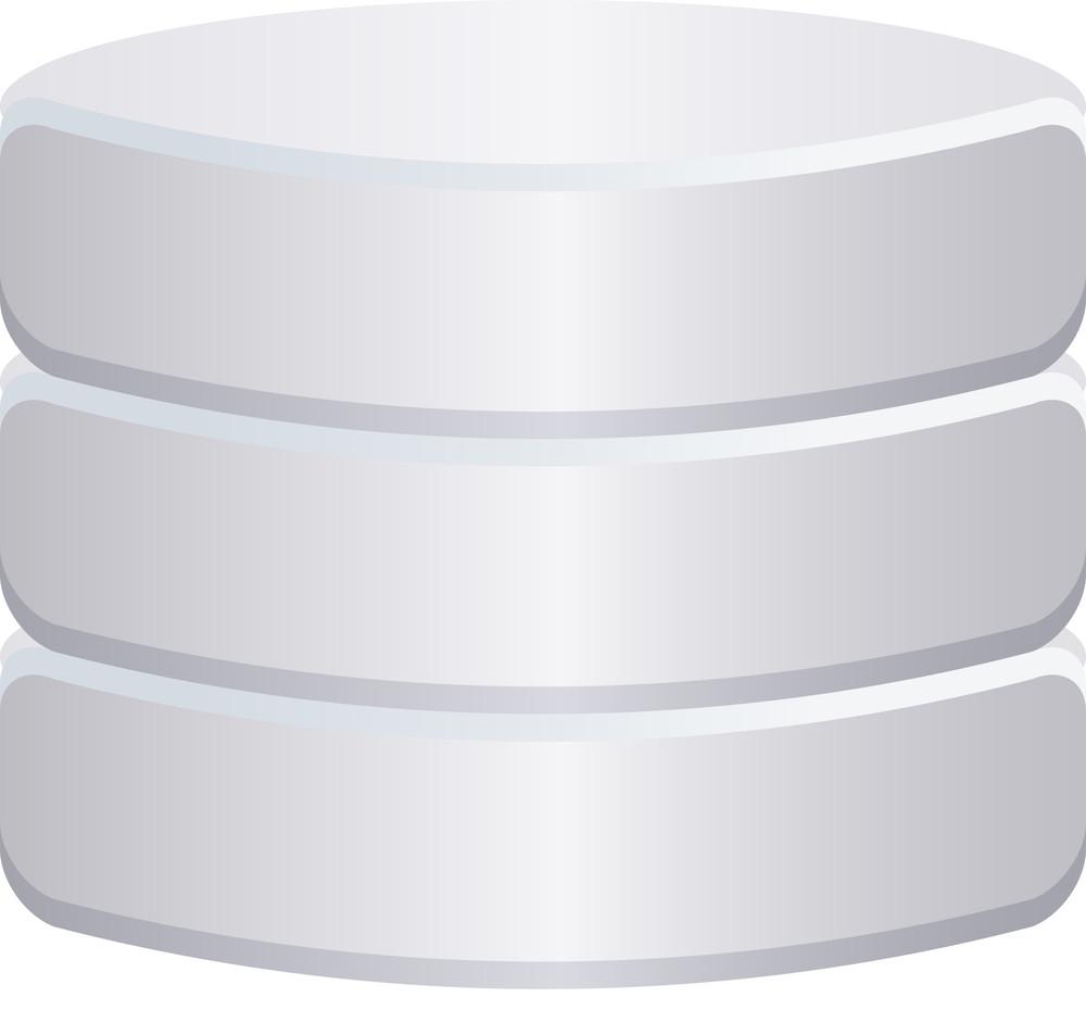 Grey Database Icon On White Background