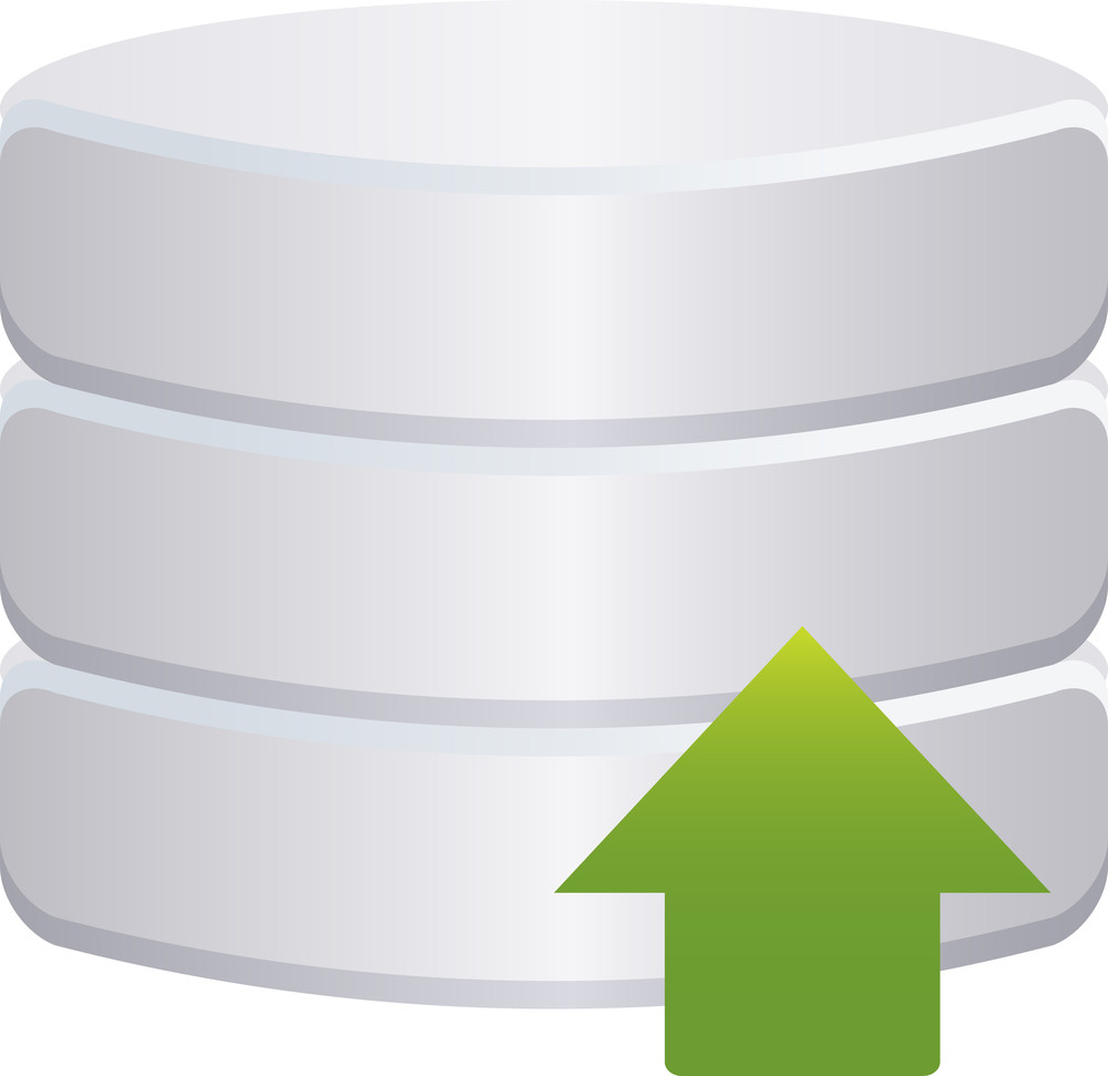 Grey Database Icon With Green Arrow On White Background