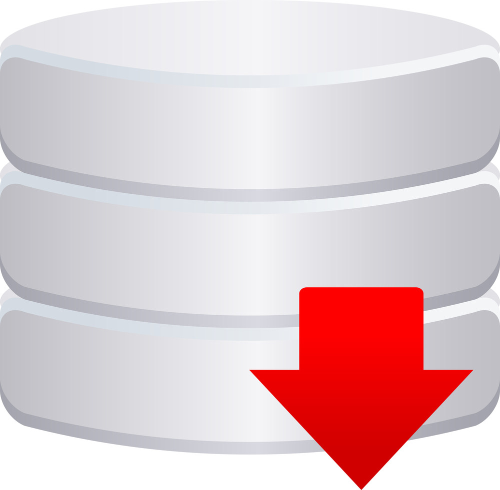 Grey Database Icon With Red Arrow Sign On White Background