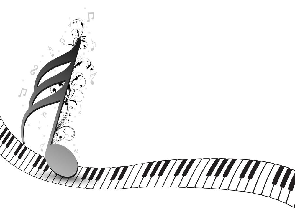 Grey musical node in musical keyboard background.