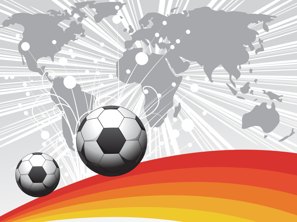 Grey Rays And Map Background With Soccer