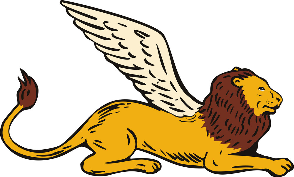 Griffin Lion Sitting Side View