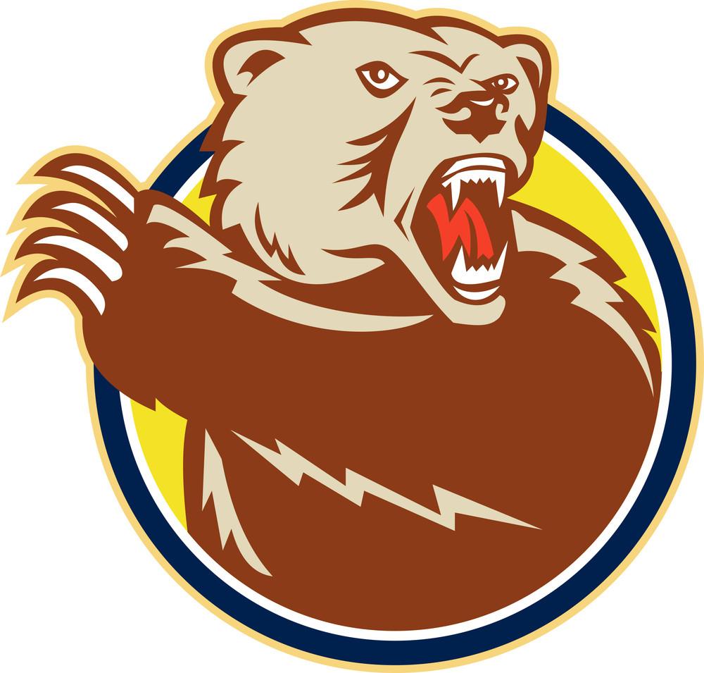 Grizzly Bear Swiping Paw Retro