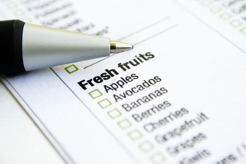 Grocery List - Fresh Fruits