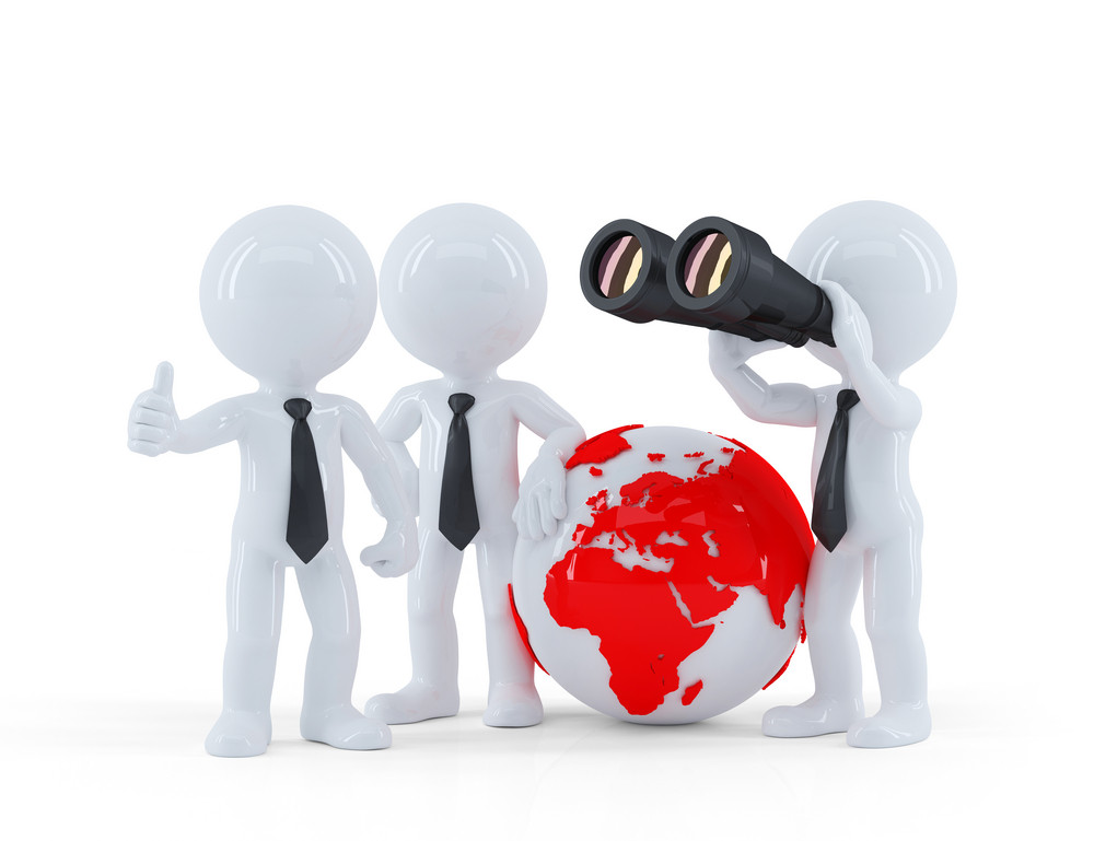 Group Of Businesspeople With Globe And Binoculars.