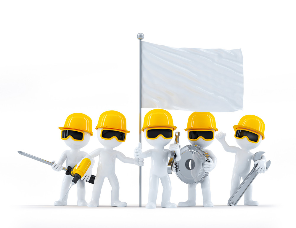 Group Of Construction Workers/builders With Tools And Blank Flag