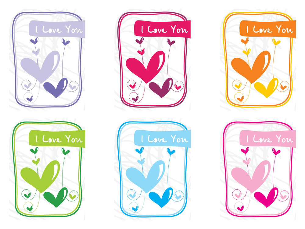 Group Of Six Balloon Design Love Card