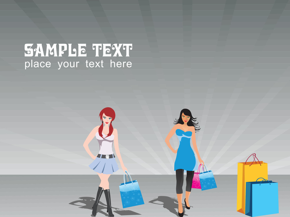 Group Of Two Shopping Girls