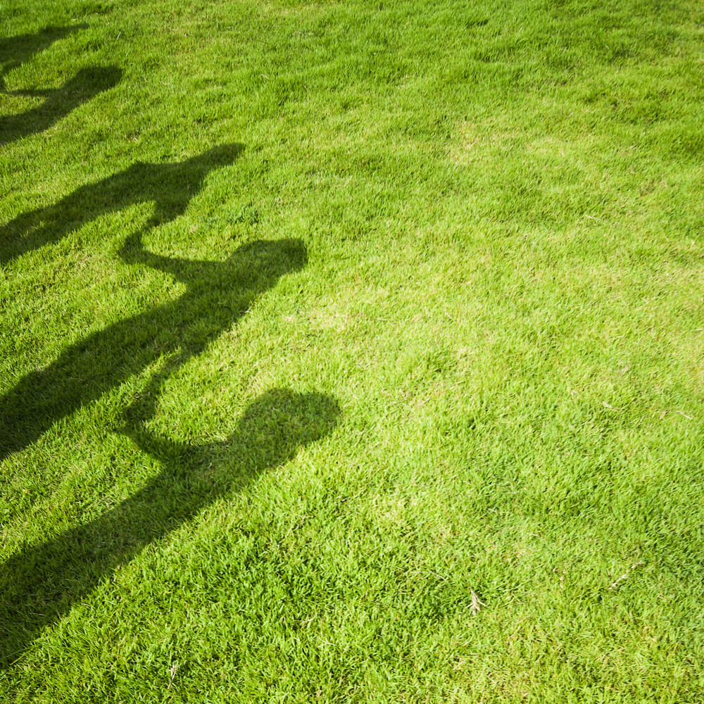 Group people shadow on green grass