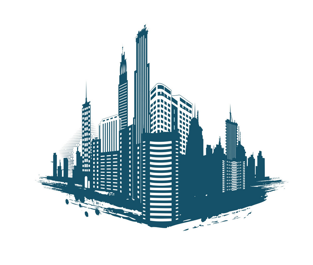 Grunge Abstract City Vector Illustration
