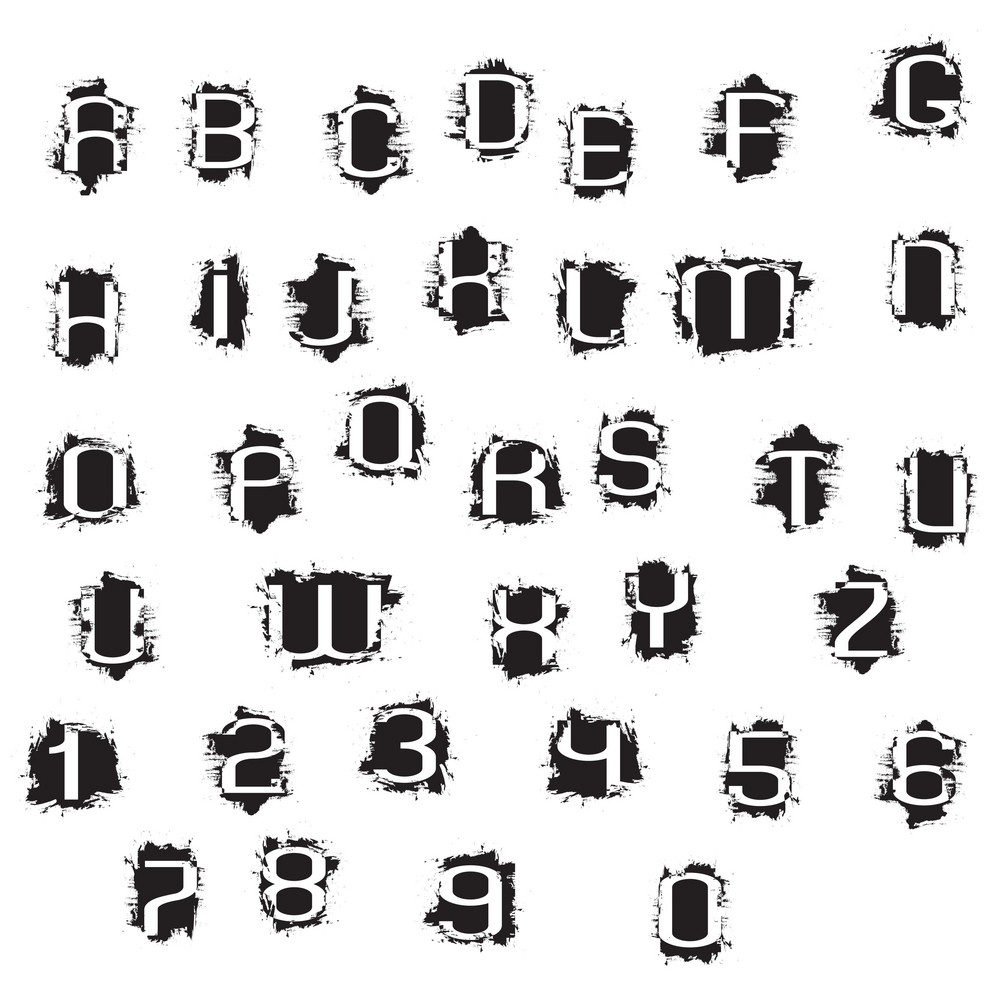 Grunge Alphabet Letters And Numbers
