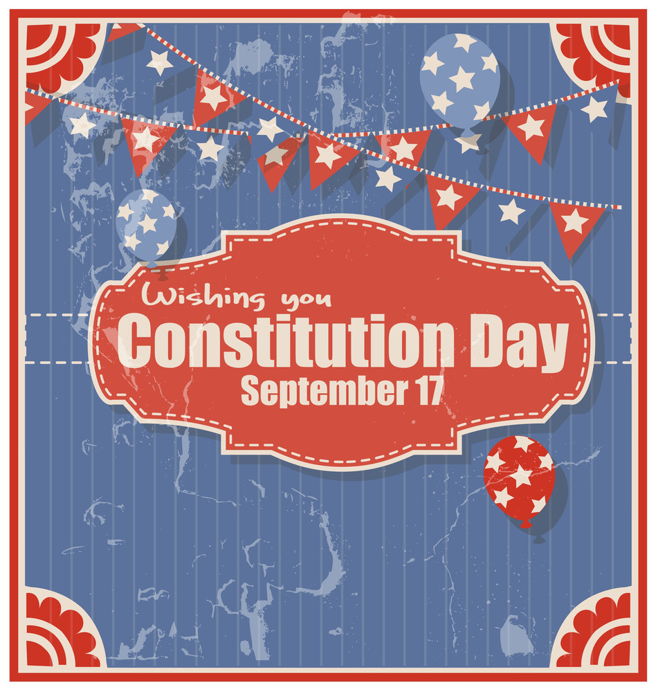 Grunge Background For Constitution Day Vector Illustration