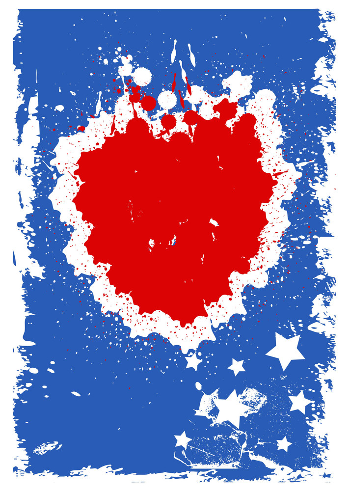 Grunge Background Heart Usa Independence Day Vector Theme Design