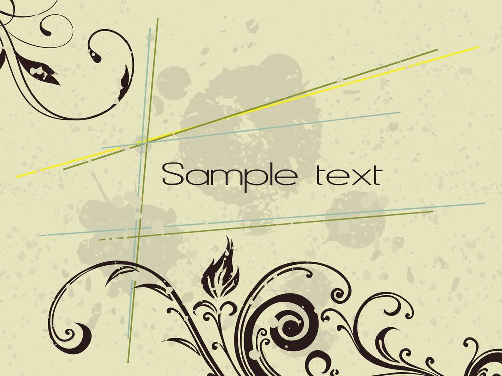 Grunge Background With Floral Design