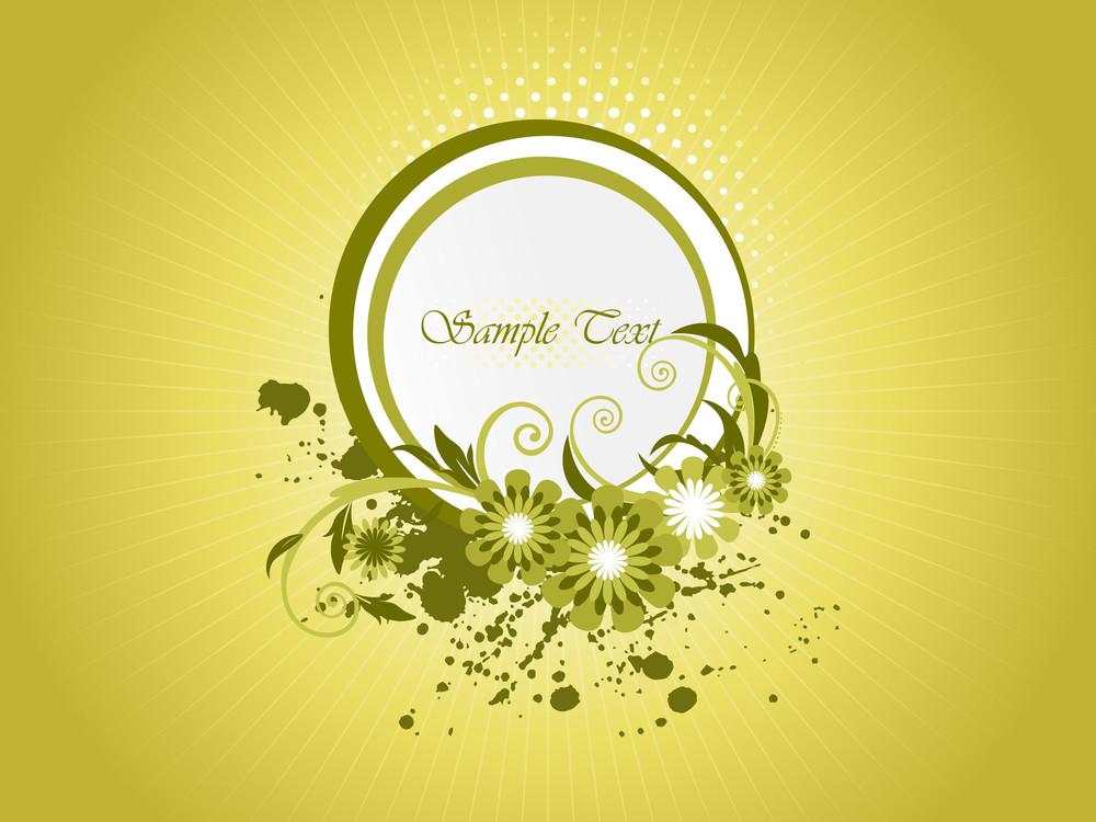 Grunge Background With Floral Frame
