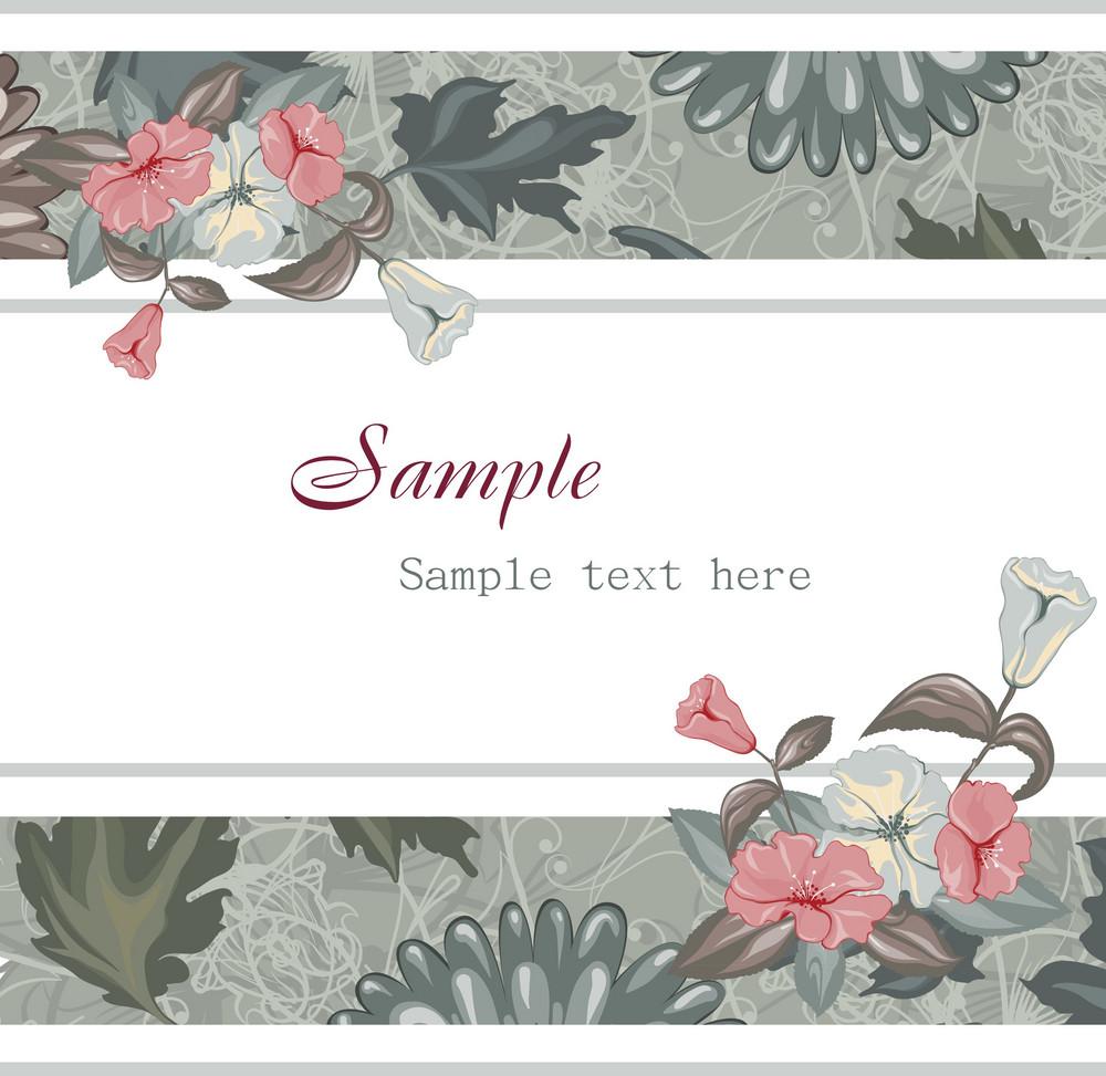 Grunge Background With Floral Vector Illustration