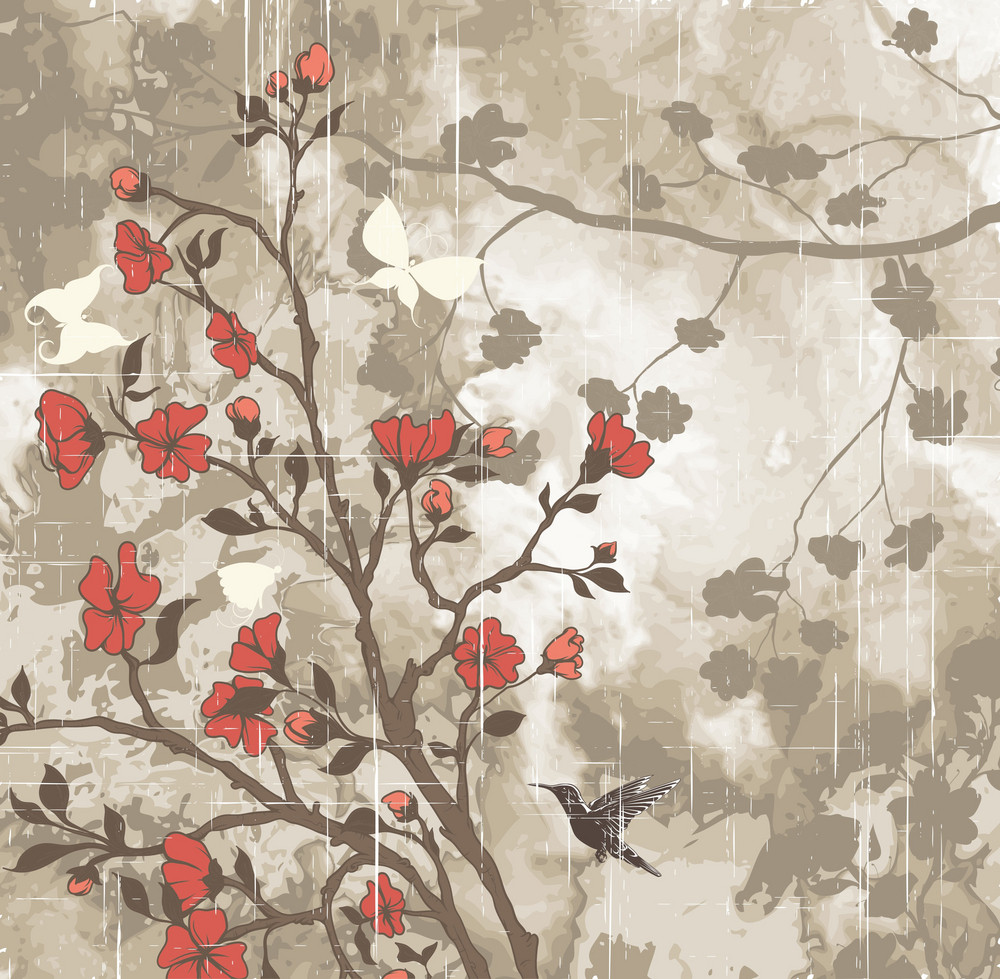 Grunge Background With Floral Vector Illustration