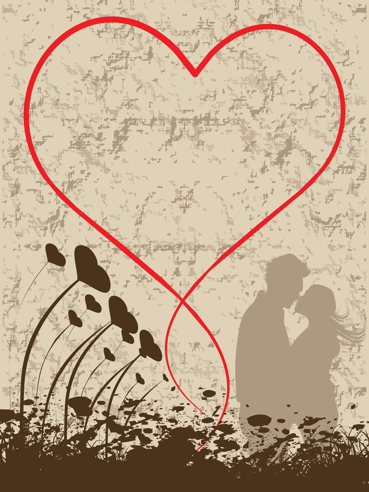 Grunge Background With Kissing Couple
