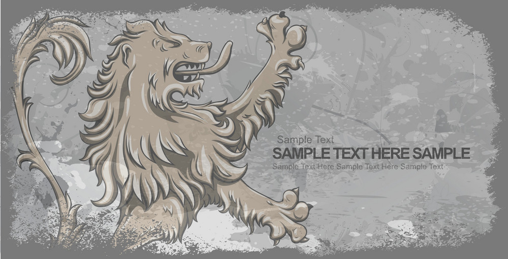 Grunge Background With Lion Vector Illustration