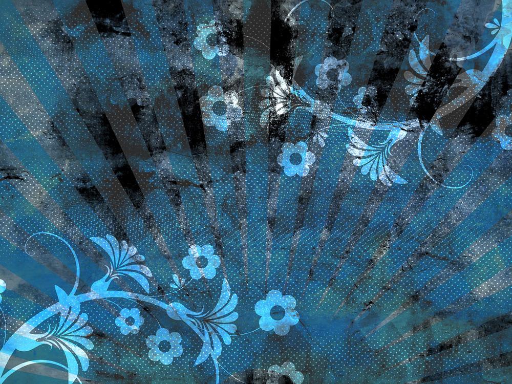Grunge Blue Flourish Background